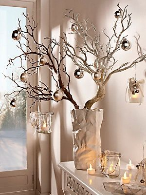 Such a cute christmas decoration idea with christmas balls and tree branches…
