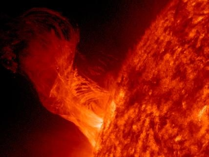 Solar Eruption this past Dec 12, 2012 - The length of the eruption extends about 160,000 miles out from the sun. This relatively minor eruption is 20 times the diameter of our Earth.