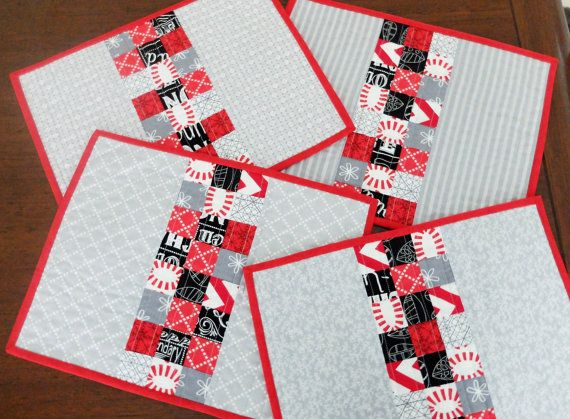 Quilted red and grey placemats set of four table by StephsQuilts