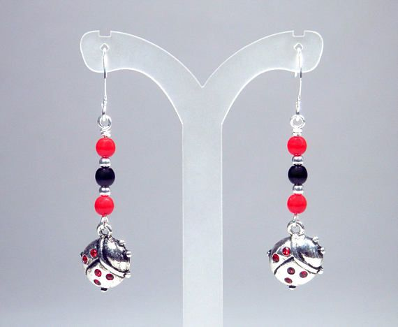Red and Black Ladybug Earrings  Red Dangle Earrings  Red and
