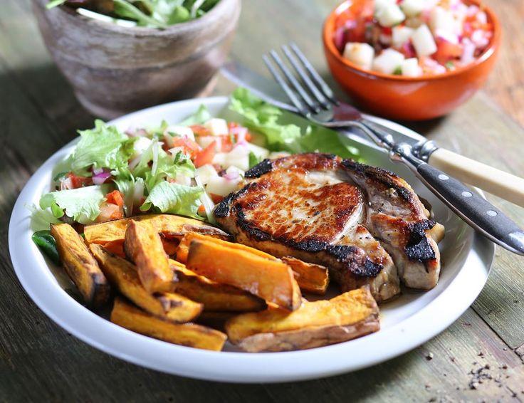 Pork Loin Steaks with Mango Salsa & Sweet Potato Fries
