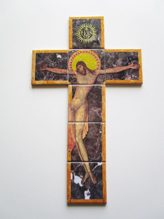 Mosaic - Tile art - Wall crucifix inspired by Cimabue's fresco in Assisi - Now available on Etsy - by TerryTiles2014