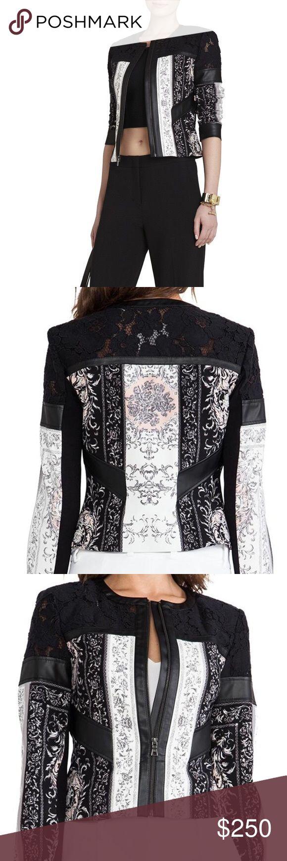 bcbg maxazria lace leather moto jacket worn once excellant condition bcbg jacket BCBGMaxAzria Jackets & Coats Blazers