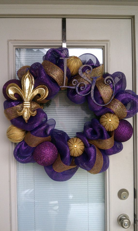 LSU Mesh Deco Wreath
