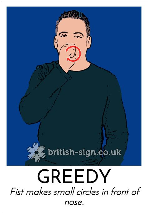 Today's #BritishSignLanguage sign is: GREEDY (also means PIG)
