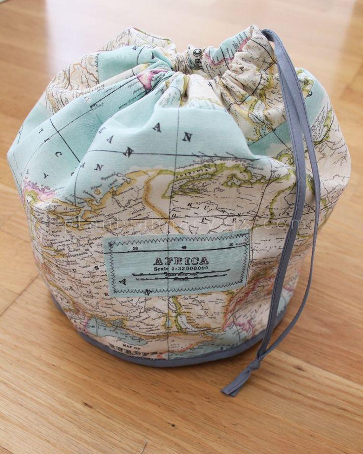 diy map toilet bag