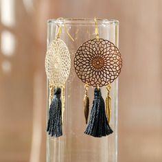 Boucles rêves noir - création bijoux ethnique bohème