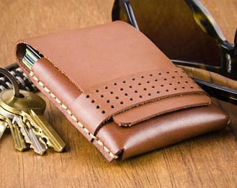 Thin Leather Wallet, Simple Card Wallet, with Matrix punched detail strap.