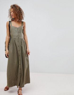 ASOS Linen Button Through Maxi Dress