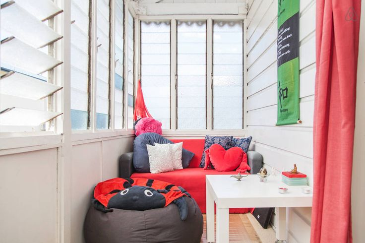 Bright and light sun room to relax in... The sunroom makes a cosy sitting area or fold out the couch for sleeping space for two...