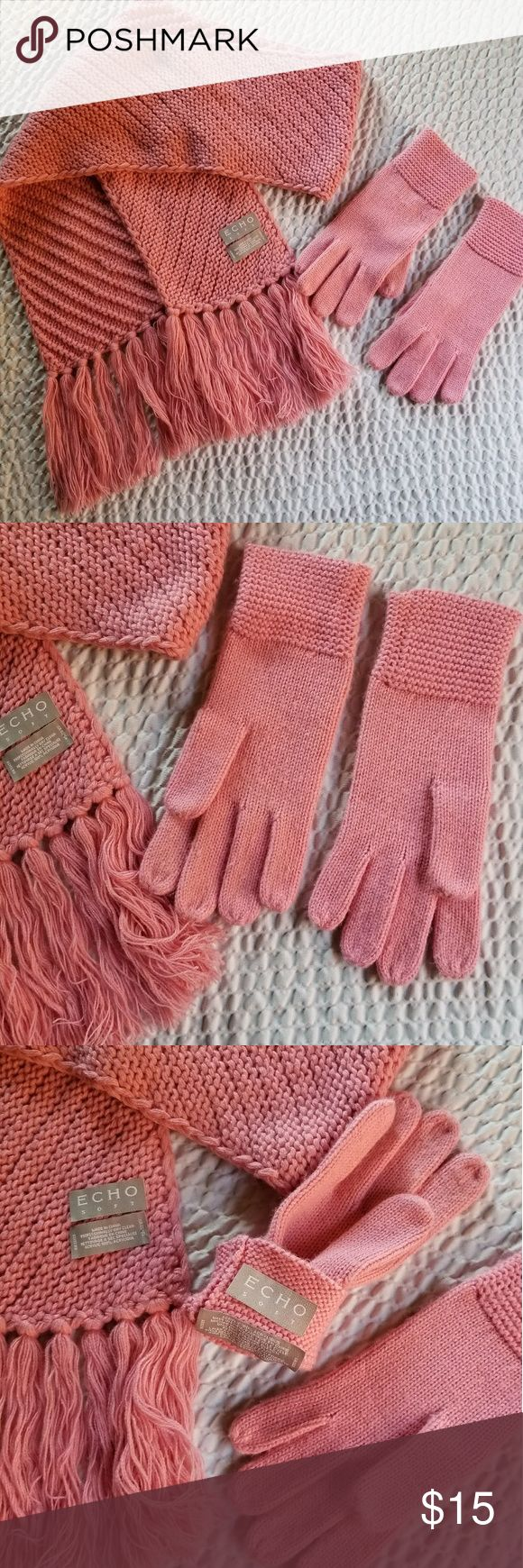 Echo Scarf/Gloves Set Super Soft Fringed Scarf & Gloves Set in a Really Pretty Pink Color ! Bought From Dillards. The Scarf is Basically NWOT and NEVER WORN. The Gloves I Did Wear 2, or Maybe 3 Times. They Have Been Hand Washed and Ready to Wear ! Echo Accessories Gloves & Mittens