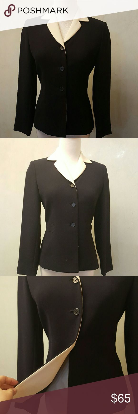 Ann Taylor black suit jacket Ann Taylor black suit jacket with a cream collar. In perfect condition like new used only 1x Ann Taylor Jackets & Coats Blazers