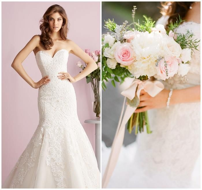 Mam, bij dit plaatje lijken er stukken ingezet te zijn - Allure trouwjurk met lichtroze rozen van www.weddings.nl