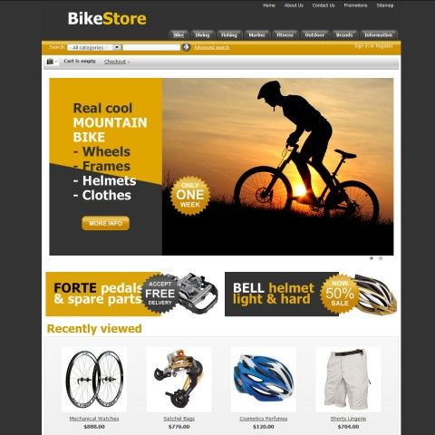 Bike Store CS-Cart Template is specially designed for spotr`s stores products. Garmonical colors combination of yellow and black is the Best decorate for Bikes & Frames, Bike Parts & Components, Bike Chains, Bike Cassettes, Bike Cranksets, Chainrings, Tires, Tubes & Wheels, Cycling Clothing, Bicycle Trainers. It is very nice with its clean and professional look.