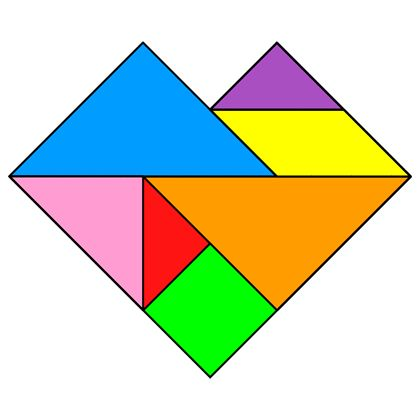Tangram Heart - Tangram solution #60 - Providing teachers and pupils with tangram puzzle activities