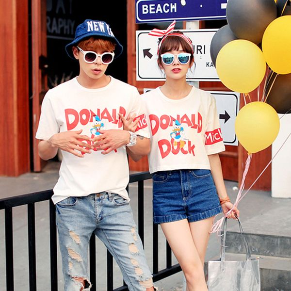 Korean Style Loose Couple Tops Fashion Casual Colorful Letter Printed