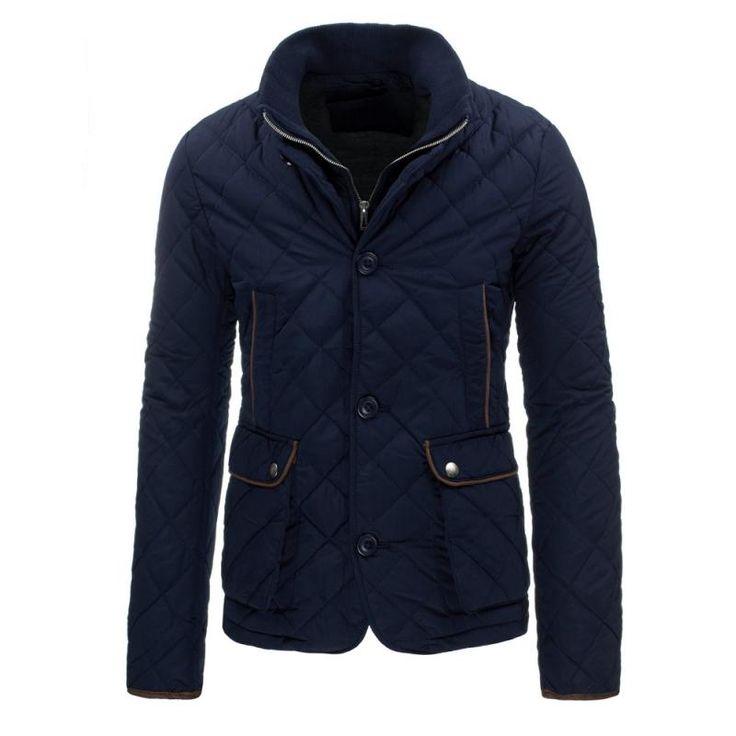 Pánská prošívaná bunda bez kapuce modrá
