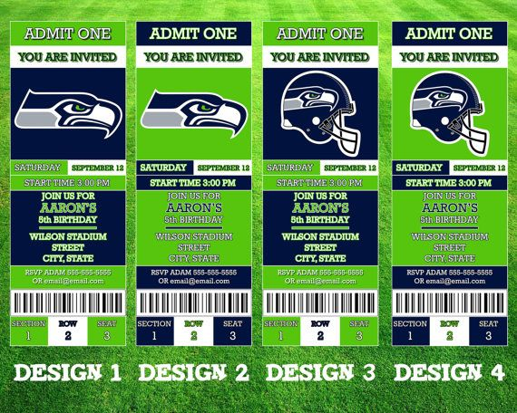 Seattle Seahawks Ticket Invitation by AWilsonDesigns on Etsy