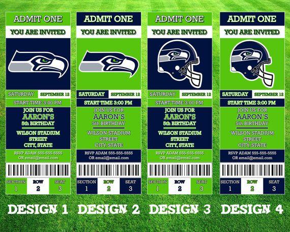 Seattle Seahawks Ticket Invitation by AWilsonDesigns on Etsy