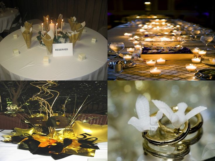 Wedding Party Table Decoration Ideas | 50th Wedding Anniversary Decorations  Go For A Gold Time |