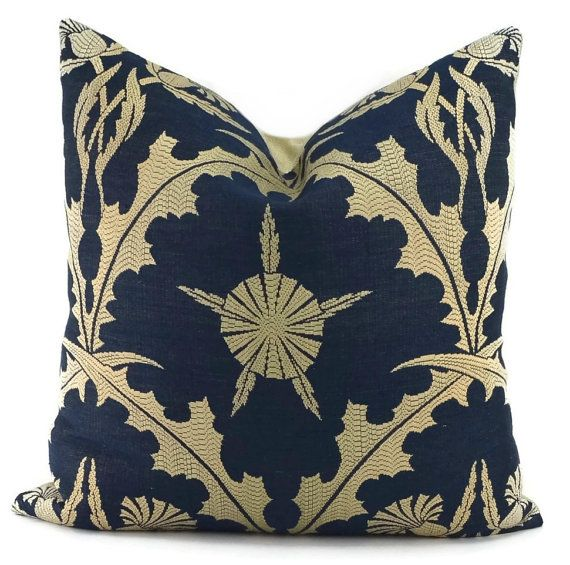 throw pillow cover navy u0026 beige woven linen by