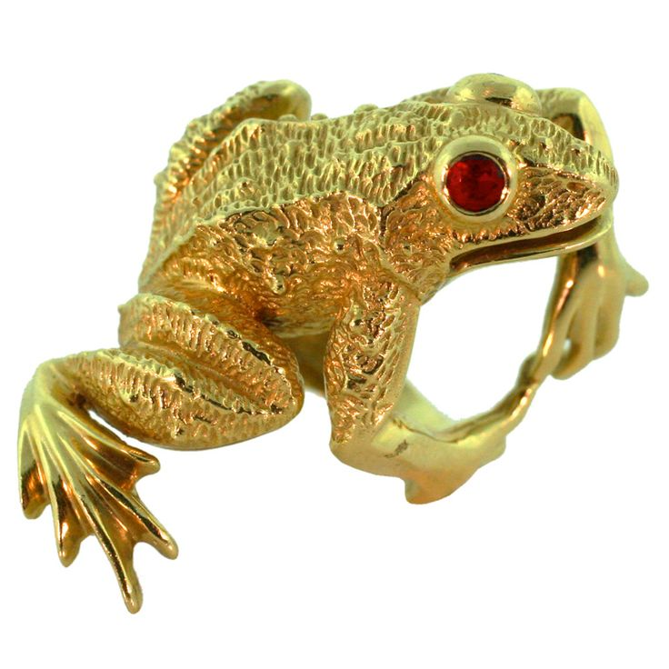 Frog Ring Ruby Eyes Amp 18k Yellow Gold Unique Jewelry