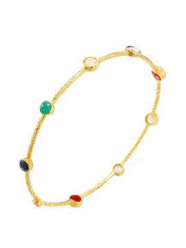 Diamond & Navaratna Bangle  from Fine Jewelry Shop: Bracelets on Gilt