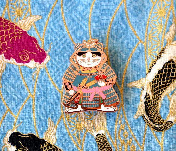 Shogun Cat Red Enamel Pin/_cat enamel pin/_Samurai/_Cat/_cat gift/_cat pin/_pin game/_hard enamel pin/_japanese/_shogun/_kawaii/_horsefiddlepress