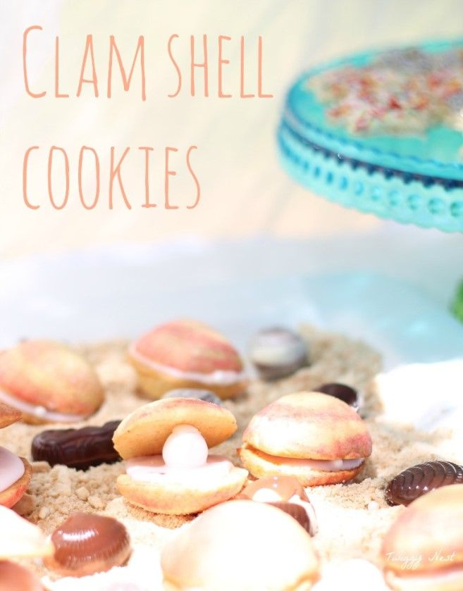 Mermaid Party: Part 4 (Clam shell cookies) by Twiggy Nest http://twiggynest.wordpress.com/2014/03/02/mermaid-party-part-4-clam-shell-cookies/