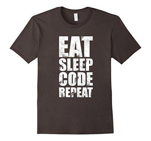 Men's Eat Sleep Code Repeat T-Shirt 2XL Asphalt BinaryTeez…