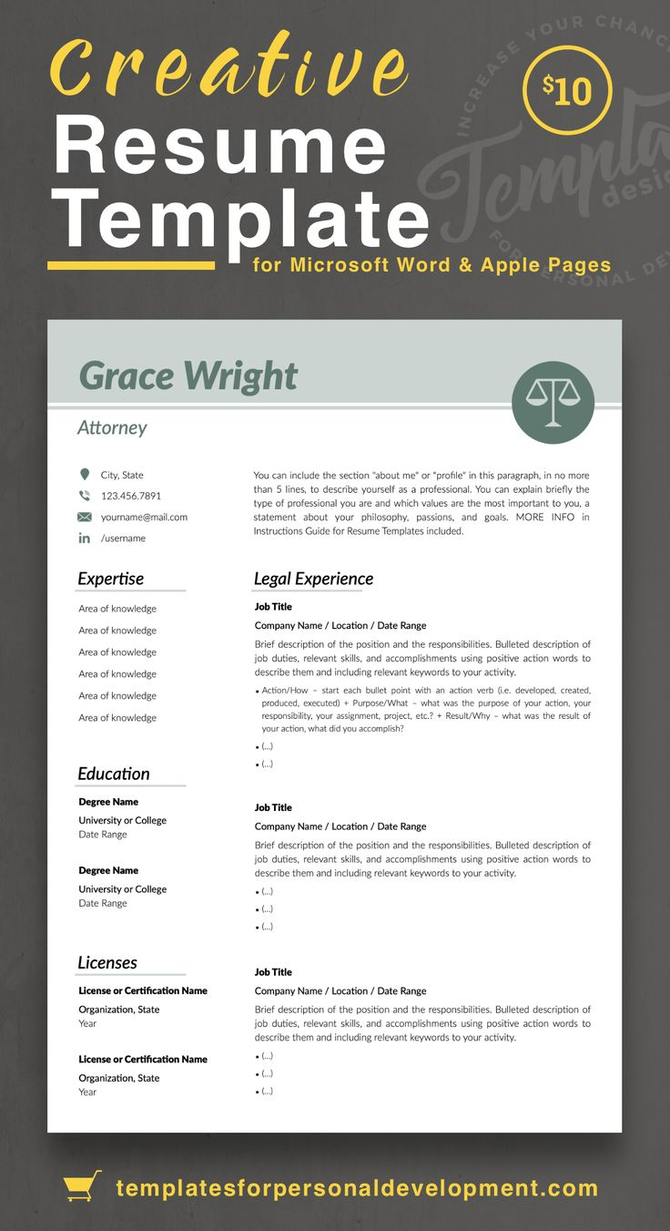 """Grace Wright"" Legal Resume CV Template for Word & Pages"