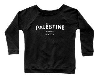 Palestine Paris Gaza Shirt Tumblr Instagram Blogger Shirt Off Shoulder Sweater Raglan Sweater Jumper Long Sleeve Sweatshirt Women Shirt