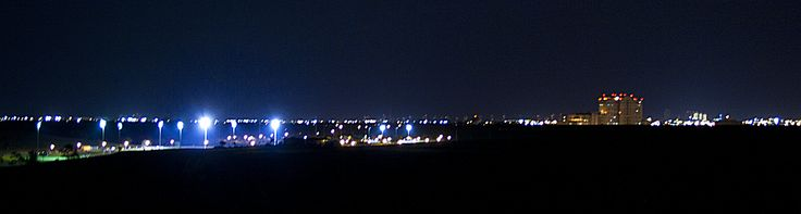 A night view of Dyer Park, the VA Hospital and the West Palm Beach Skyline.