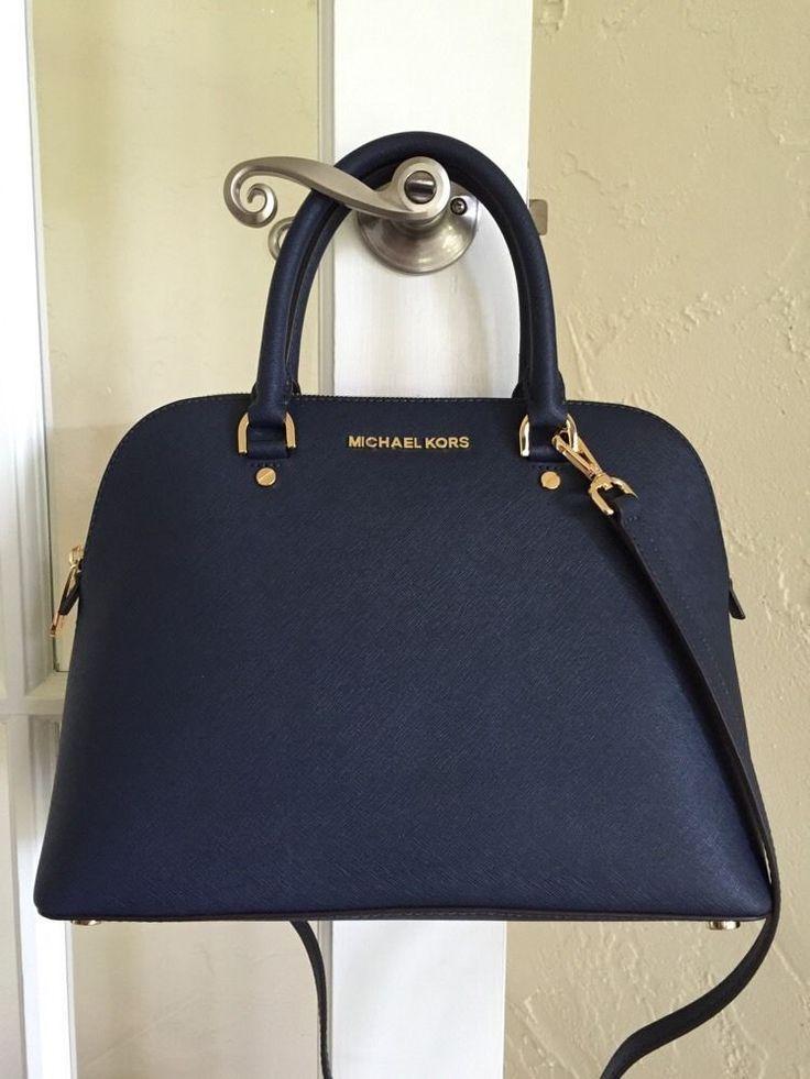 Michael Kors Cindy Large Dome Satchel Saffiano Leather Navy Blue 30S5GCPS3L #MichaelKors #Satchel  Diese und weitere Taschen auf www.designertaschen-shops.de entdecken