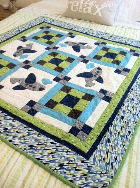 Baby airplane quilt..pattern from Connecting Threads