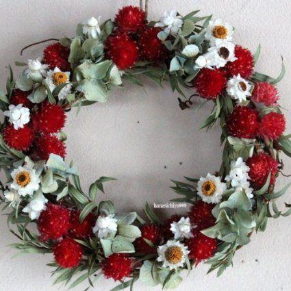 * 花七曜 * ミニリースレッド / ミニ リース ドライフラワー レッド 赤 / ナチュラル 結婚 ディスプレイ プレゼント 引越祝い 母の日 ホワイトデー お礼 開店祝い 誕生日