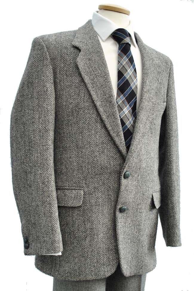 Men's Classic Vintage Grey Herringbone Harris Tweed Dunn
