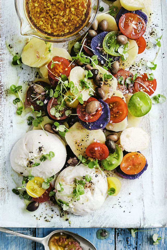 // Mixed Potato and Heirloom Tomato Salad