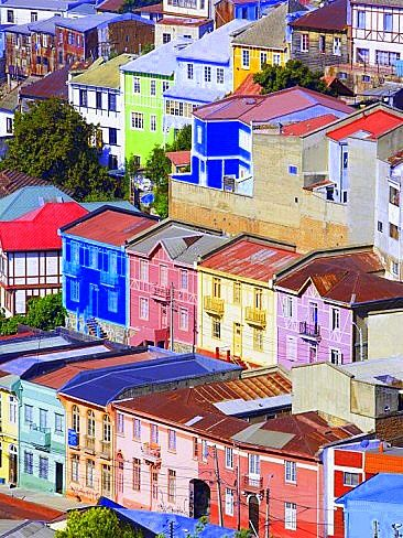 Traditional Colourful Houses, Valparaiso, Unesco World Heritage Site, Chile, South America°°