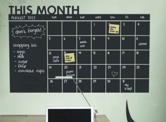 month calendar planner / chalkboard sticker wall decal / modern