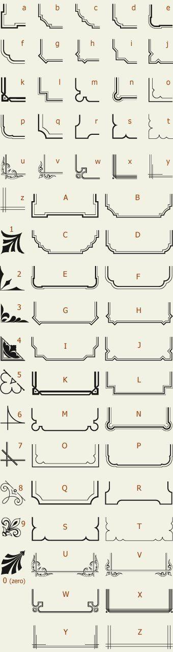 Letterhead Fonts / LHF Corner Specimens / Scrolls and Borders by janet