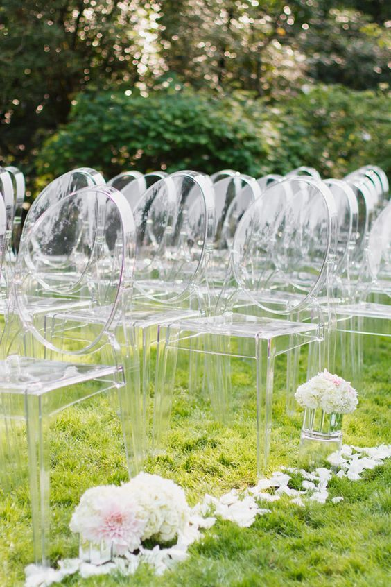 ghost wedding chairs / http://www.himisspuff.com/acrylic-and-lucite-wedding-decor-ideas/5/