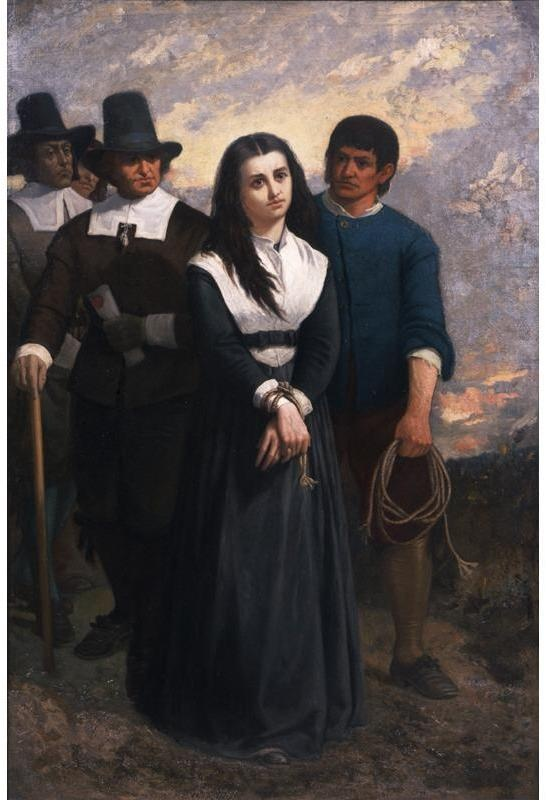 "June 10, 1692: The Salem witch trials: Bridget Bishop is hanged at Gallows Hill near Salem, Massachusetts for ""certaine Detestable Arts called Witchcraft & Sorceries.""  Witch Hill (The Salem Martyr), 1869, oil on canvas, by Thomas Satterwhite Noble, Gift of the Children of Thomas S. Noble and Mary C. Noble, in their memory.  NYHS Object Number 1939.251."