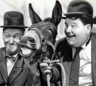 Laurel  & Hardy with a Mule Friend...