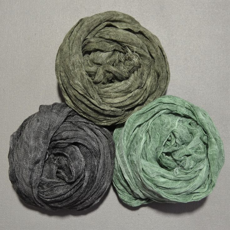 100% French Linen Crinkled Scarf in Moss Green, Forest Green & Graphite