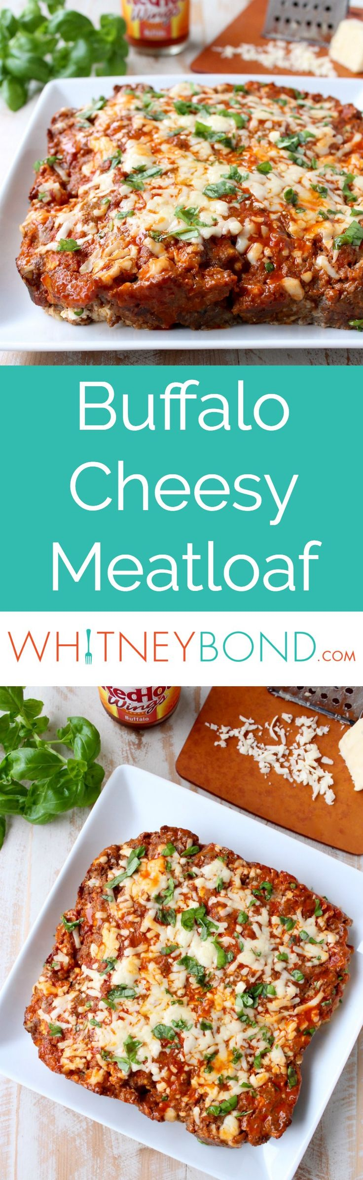 Buffalo sauce, ground beef, pork sausage and two cheeses are combined in this delicious, easy Buffalo Cheesy Meatloaf recipe! Served on the @worldmarket 	  White Square Coupe Dinner Plate #WorldMarketTribe