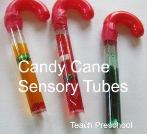 Candy Cane Sensory Tubes & Light Table Play (from Teach Preschool)