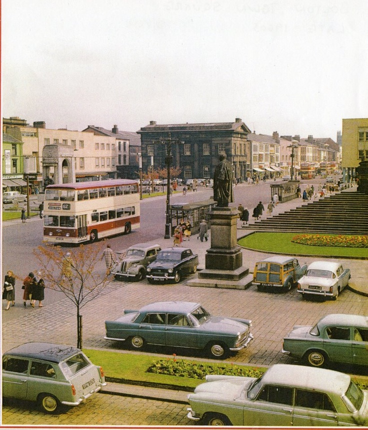 Before it was all pedestrianised.  Bolton town centre