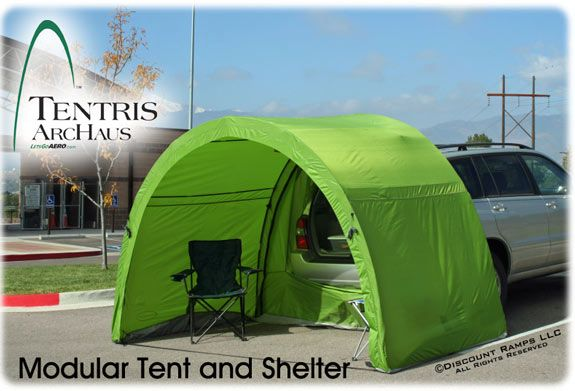 "Tentris™ ArcHaus™ Modular Tent: A tent that attaches to the back, opened, of your truck or SUV. Perfect for simply tailgating (in either the rain or sun, for protection) or for camping to sleep in the car but a covered area ""tent"" outside the bed."