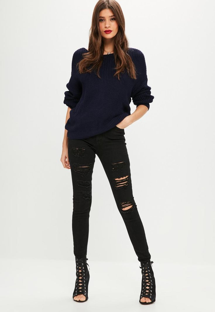 Missguided - Navy Oversized Twist Back Jumper